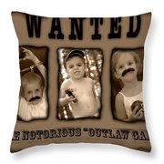 Wanted The Outlaw Gang Throw Pillow