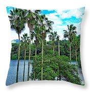Waokele Pond Palms And Sky Throw Pillow