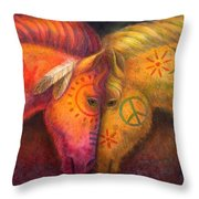 War Horse And Peace Horse Throw Pillow