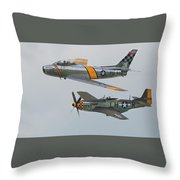 Warbirds Heritage F-86 Sabre And P-51 Mustang Throw Pillow