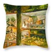 Wardrobe With Ceramic Objects Throw Pillow