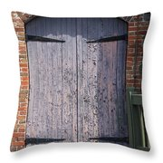 Warehouse Wooden Door Throw Pillow by Thomas Marchessault