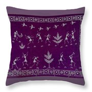 Warli Life Throw Pillow