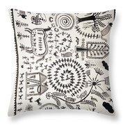 Warli Tribal Painting  Throw Pillow