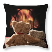 Warm And Cosy Teddies By The Fireside Throw Pillow