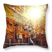 Warm Autumn City. Warm Colors And A Large Film Grain. Throw Pillow