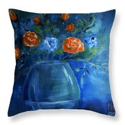 Warm Blue Floral Embrace Painting Throw Pillow