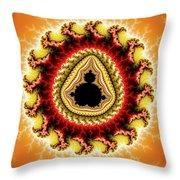 Warm Colors Orange Yellow Red Mandelbrot Fractal Throw Pillow
