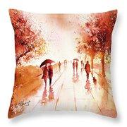 Warm Rain Throw Pillow