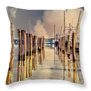 Warm Reflections In The Marina Throw Pillow