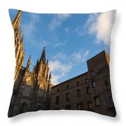 Warm Sun Glow On The Cathedral Of Barcelona Throw Pillow