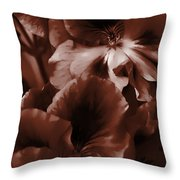 Warm Tone Monochrome Floral Art Throw Pillow