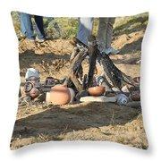 Warming The Pots Before Firing Throw Pillow