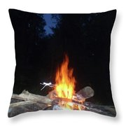Warming Up By The Fire Throw Pillow