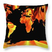 Warming World Map Throw Pillow