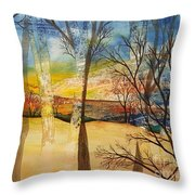 Warmth Waiting Beyond The Hill Throw Pillow
