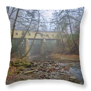 Warner Hollow Rd Covered Bridge Throw Pillow