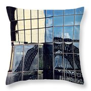 Warped Harbour Bridge Reflection By Kaye Menner Throw Pillow