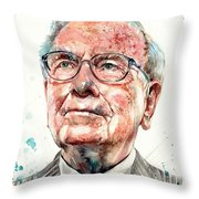 Warren Buffett Portrait Throw Pillow