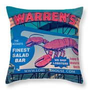 Warrens Lobster House Neon Sign Kittery Maine Throw Pillow