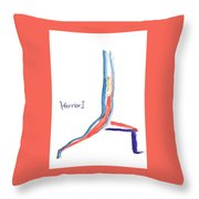 Warrior 1 Yoga Pose Throw Pillow