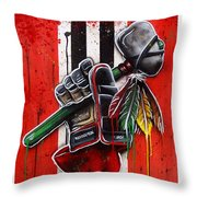 Warrior Glove On Red Throw Pillow