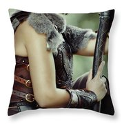 Warrior Princess In Battle Throw Pillow