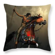 Warriors Of The Plains Throw Pillow