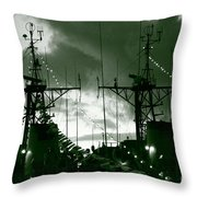 Warships At Twilight Throw Pillow