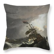 Warships In A Heavy Storm Throw Pillow