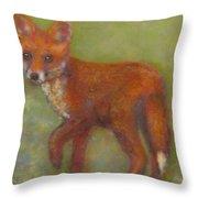 Wary Fox Cub Throw Pillow
