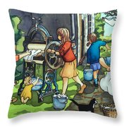 Wash Day At Clay Street Throw Pillow