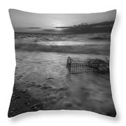 Washed Up Crab Cage 16x9 Bw Throw Pillow