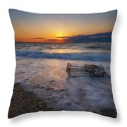 Washed Up Crab Trap Throw Pillow