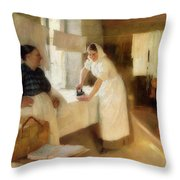 Washerwomen Throw Pillow