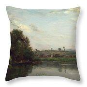 Washerwomen At The Oise River Near Valmondois Throw Pillow
