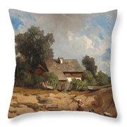 Washerwomen By The River Throw Pillow