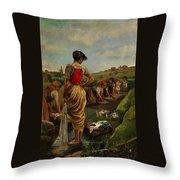 Washerwomen In Candas Asturias Amoros Botella, Antonio Throw Pillow