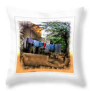Washing Line And Cows Indian Village Rajasthani 1b Throw Pillow