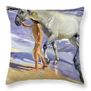 Washing The Horse Throw Pillow by Joaquin Sorolla y Bastida