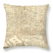 Washington Dc Antique Vintage City Map Throw Pillow
