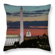 Washington Dc Landmarks At Sunrise I Throw Pillow