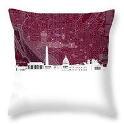 Washington Dc Skyline Map 3 Throw Pillow