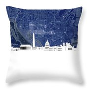 Washington Dc Skyline Map 4 Throw Pillow