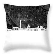 Washington Dc Skyline Map 5 Throw Pillow