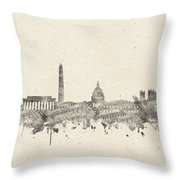 Washington Dc Skyline Music Notes 2 Throw Pillow
