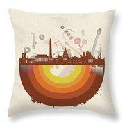 Washington Dc Skyline Retro Throw Pillow