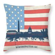 Washington Dc Skyline Usa Flag 3 Throw Pillow