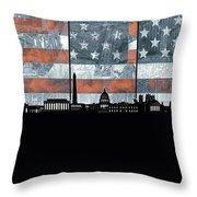 Washington Dc Skyline Usa Flag Throw Pillow