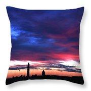Washington Monument Dramatic Sunset Throw Pillow